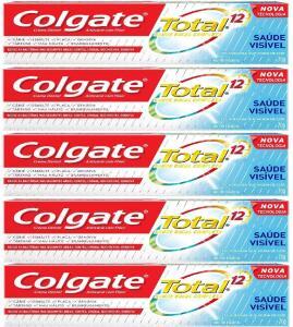 5 unidades: Creme Dental Colgate Total 12 Saúde Visível 70g