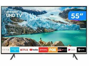 """Smart TV 4K LED 55"""" Samsung UN55RU7100GXZD-Wi-Fi Bluetooth HDR 3 HDMI 2 USB"""