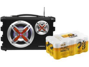 Caixa de Som Amplificadora Mondial - com Cerveja Skol Puro Malte 269ml 15 Unidades | R$190