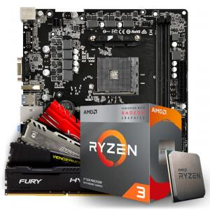 Kit Upgrade Placa Mãe ASRock + Processador AMD Ryzen 3 + Memória DDR4 8GB   R$1189