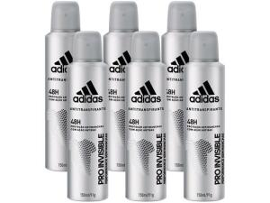 Kit com 6 Unidades Desodorante Aerosol Antitranspirante Masculino - Adidas Pro Invisible 150ml
