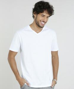 [APP] Camiseta masculina basica manga curta v branca Tam. [P, PP]