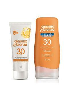 (PRIME) Kit Protetor Solar Fps30 + Protetor Facial Fps30, Cenoura e Bronze