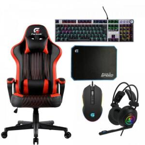 Kit Gamer Profissional Cadeira Gamer Vickers Preta/Vermelha FORTREK | R$ 1.357