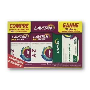 Kit Lavitan AZ Mais Mulher 180 Comprimidos Grátis Hair 30 Comprimidos