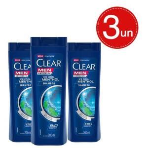Kit Shampoo Clear Anticaspa Ice Cool Menthol 200ml - 3 Unidades