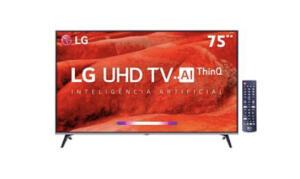"Smart TV LED 75"" UHD 4K LG 75UM7510PSB com ThinQ AI Inteligência Artificial, IPS, Quad Core"