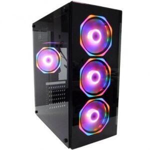 Gabinete Gamer PC Fort Glass 4 Fans RGB Rainbow Preto | R$281
