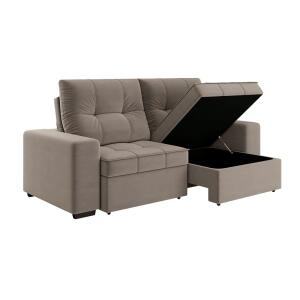 Sofá 4 Lugares Linoforte Dublin com Assento Retrátil, Encosto Reclinável e Baú em Tecido Suede 230 cm de largura