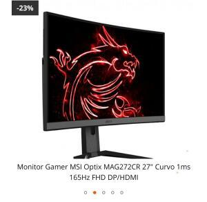 "Monitor Gamer MSI Optix MAG272CR 27"" Curvo 1ms 165Hz FHD DP/HDMI"