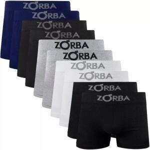 Kit 10 Cuecas Boxer Zorba Algodão Cotton Box Premium | R$80