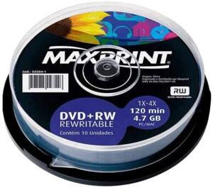 Mídia Dvd+Rw Regravável Maxprint 4.7 Gb - 120 Min - 4X - Slim - R$ 8