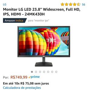 "[PRIME] Monitor LG LED 23.8"" Widescreen, Full HD, IPS, HDMI - 24MK430H"