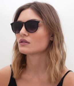 Óculos de Sol Feminino Redondo Preto ( FRETE GRÁTIS)
