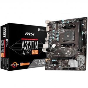 placa-Mãe MSI A320M-A Pro Max p/ AMD AM4, m-ATX, DDR4