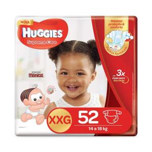 Huggies Fralda Supreme Care Hiper XG e XXG, 52 Fraldas | R$50