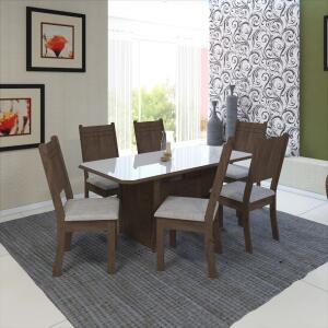 Conjunto De Sala De Jantar Fidelita Miami 150 CM Com 6 Cadeiras Noce Off-White Assento Linho | R$500
