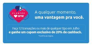 Ganhe cupom de 20 reais de cashback ao realizar 12 transações em julho