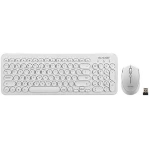 Kit Teclado e Mouse sem Fio Multilaser TC232 - Branco   R$ 108