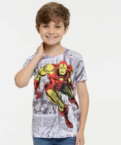 Camiseta Infantil Estampa Homem de Ferro - Manga Curta Marvel