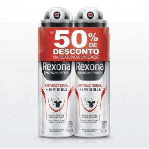 Kit Com 02 Desodorante Rexona Antibacterial Mem Aerossol 90g
