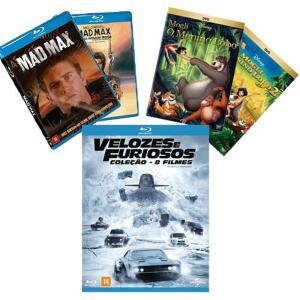 BLU RAY BOX VELOZES E FURIOSOS + MAD MAX 1 e 3 + DVD MOGLI DESENHO 1 e 2 JUNTOS   R$114