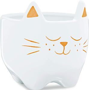 Cachepot em Cerâmica, Gato, Branco, Mart | R$ 27