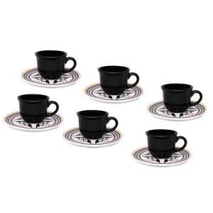 Jogo 6 Xícaras De Café Com Pires Oxford 75ml Daily Floreal Luiza | R$48