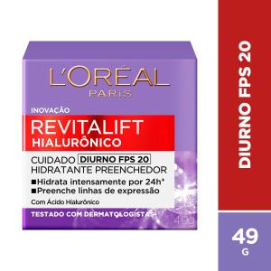 Creme Revitalift Hialurônico Diurno FPS 20, L'Oréal Parisl | R$38