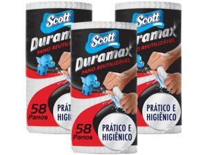 Pano de Limpeza Scott Duramax Reutilizável - 3 Pacotes com 58 Unidades R$ 36