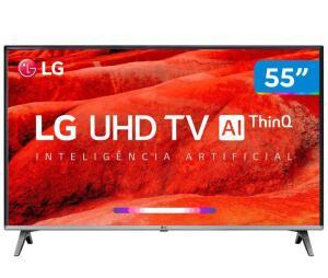 "Smart TV 4K LED 55"" LG 55UM7520PSB Wi-Fi HDR - Inteligência Artificial R$ 2599"