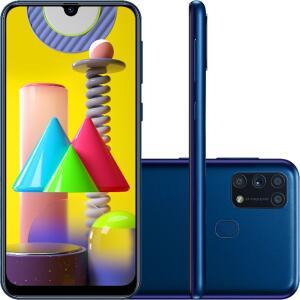 "Galaxy M31 128GB Dual Chip Android 10.0 Tela 6.4"" Octa-Core 4G Câmera Quádrupla 64MP+8MP+5MP+5MP - Azul"
