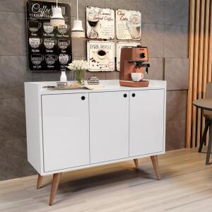 Aparador Buffet Retrô Pés Palito Wood Prime - Branco - Lojas GD R$ 180