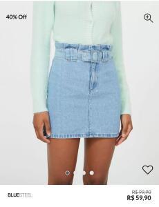 Saia Jeans Clochard com Fivela Azul | R$ 60