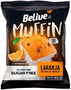 Muffin Laranja com Gotas de Chocolate Zero Açúcar sem Glúten sem Lactose Belive 40g