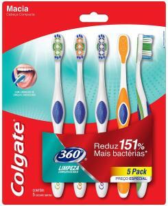 Escova Dental Colgate 360º 5unid - R$24,99