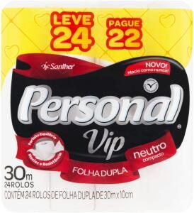 Papel Higiênico VIP Folha Dupla, Personal, 24 unidades ( R$1,07/ o rolo) - R$25,68