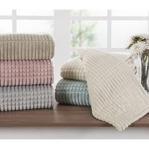 Cobertor Solteiro Flannel Sion Bege - Casa & Conforto - R$69