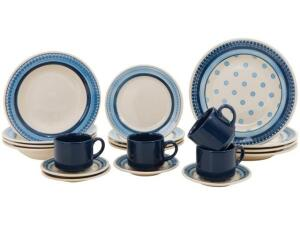Aparelho de Jantar 20 Peças Biona Cerâmica - Redondo Branco e Azul Donna | R$142