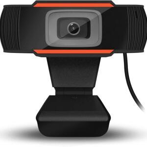Webcam BrazilPc V5, Microfone, 720P, Preto e Laranja R$ 299