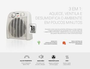 Aquecedor Eletrico 3 em 1 EOS Comfort Heat 2000W 220V