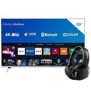 "Smart TV LED 50"" 4K Philips + Fone de Ouvido Sem Fio Philips | R$2184"