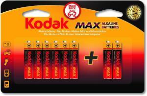 Pilha Max Alcalina AAA Palito com 6+2 Unidades, Kodak, 30414440 R$ 10