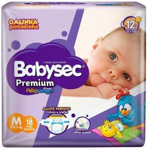 Fraldas Babysec Premium Flexi Protect, 18 unidades, tam. M | R$14