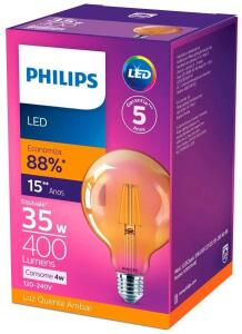 LED Filamento G93 2500K 400LM 100-240V, Philips, 4W R$ 36