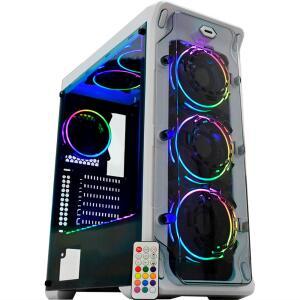GABINETE GAMER CG-02B1 WHITE TROOPER RGB 3 FAN + FITA BRANCO K-MEX