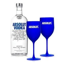 [R$ 96 AME] Kit Vodka Absolut Original 1L + 2 Taças | R$ 160