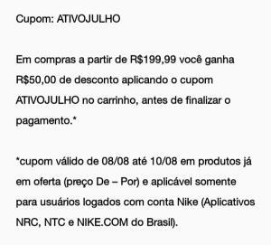 Cupom R$50,00 compras Nike