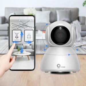 Xiaovv Q8 HD 1080P 360° Panoramic IP Camera Onvif Support Infrared Night Vision AI Mo-tion Detection Machine Panoramic Camera - R$94