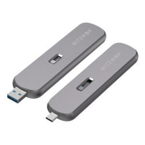 BlitzWolf® M.2 NGFF SATA SSD External Enclosure B-Key Aluminum Alloy USB-C USB-A 5Gbps 2TB